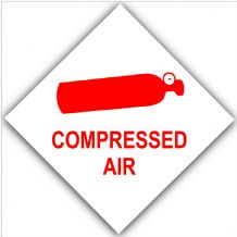 1 x Red on White Compressed Air-External Self Adhesive Sticker-Bottle Logo-Health and Safety Sign